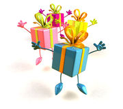 Gifts jumping Royalty Free Stock Photography