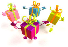 Gifts jumping. Of joy, 3d generated Royalty Free Stock Images
