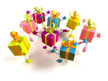 Gifts jumping. Of joy, 3d generated Stock Photos
