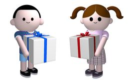 Gifts for kids. 3D illustration of a boy and girl holding presents Royalty Free Stock Image
