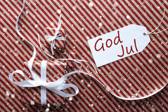 Gifts With Label, Snowflakes, God Jul Means Merry Christmas Royalty Free Stock Images