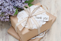 Gifts. With label Thank you Stock Images