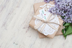 Gifts. With label Thank you Royalty Free Stock Photography