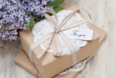 Gifts. With label For you Royalty Free Stock Photos