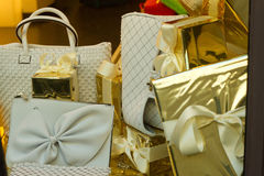 Gifts. Leather handbags as luxury gifts and presents stock photography