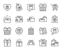 Gifts line icons. Present, Offer and Sale. Royalty Free Stock Images