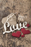 Gifts for love on wooden surface Royalty Free Stock Photo