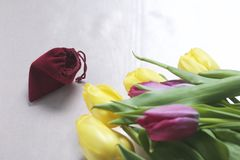 Gifts for loved ones. A bouquet of yellow and pink tulips is scattered on a light surface. Nearby is an open velvet bag of red col. Or with gold jewelry Stock Photos