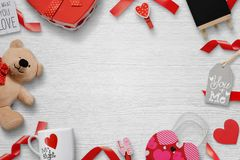 Gifts for the lovers a white wooden background with free space for text Royalty Free Stock Photos