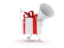 Gifts with megaphone. And red ribbons Royalty Free Stock Photo