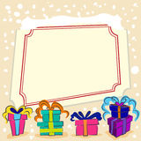 Gifts with message frame stock illustration