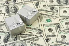 Gifts on money background Royalty Free Stock Photo