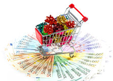 Gifts and money. holiday shopping Royalty Free Stock Photo