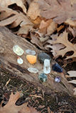 Gifts from Nature. Quartz, citrine, amythest, gems for connecting with nature Stock Images
