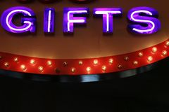 Gifts neon lights. Las Vegas gifts sign neon lights Royalty Free Stock Photography