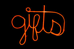 Gifts Neon Sign Royalty Free Stock Images