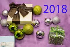 With Gifts,new year inscription 2018 stock photography