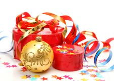 Gifts and New Year's ornaments Royalty Free Stock Photography