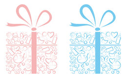 Gifts for newborns. Boxes with gifts for newborn boys and girls Stock Photos
