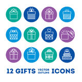 Gifts outline icons set for celebrating card, interface, illustration. Stock Image