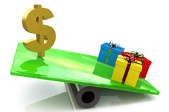 Gifts outweigh the dollar sign. At registration-related information money and gifts Stock Photos