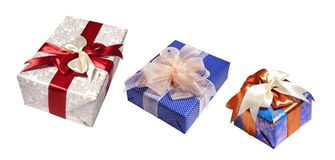Gifts packing isolated on white royalty free stock images