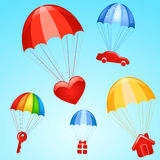 Gifts on parachutes Royalty Free Stock Photo