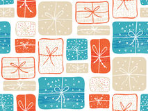 Gifts pattern with red and blue present boxes. Seamless vector background. Royalty Free Stock Photos