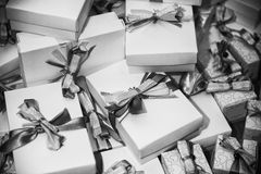 Gifts pile with ribbons Stock Photos