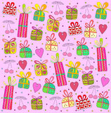 Gifts on a pink background Stock Photos