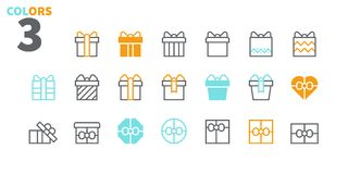 Gifts Pixel Perfect icons Well-crafted Vector Thin Line Icons 48x48 Ready for 24x24 Grid for Web Graphics and Apps. Part 2 Colors 3 Stock Photos