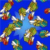 Gifts pop art comics seamless pattern vector Stock Image