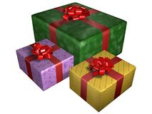 Gifts or presents. Boxes, wrapped and tied with ribbons Stock Illustration