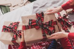 Gifts and presents in hands Stock Photos