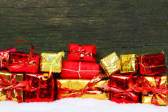 Gifts in red and gold Royalty Free Stock Photo