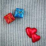 Gifts, red hearts, Valentine Stock Image