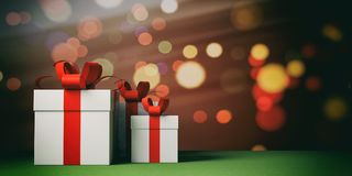Gifts with red ribbons on bokeh background, copy space. 3d illustration. White gift boxes with red ribbons on bokeh festive background, copy space. 3d Stock Photo