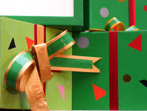 Gifts with ribbon. Gifts in green and red with ribbon Royalty Free Stock Photos