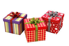 Gifts with ribbons isolated Stock Image