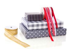 Gifts ribbons and wrappingpaper Stock Image