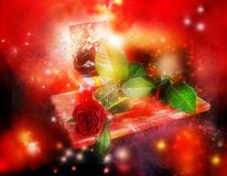 Gifts, rose and postal Stock Images