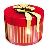 Gifts round box  and gold ribbon Stock Image