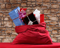 Gifts in sack Stock Photo