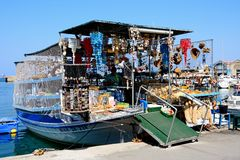 Gifts for sale on a boat, Chania. Royalty Free Stock Photos