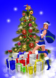 Gifts from Santa Claus Lady Royalty Free Stock Image