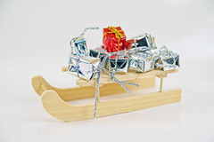 Gifts with santa sleigh Royalty Free Stock Images