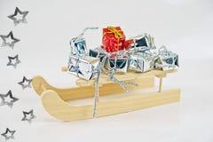 Gifts with santa sleigh Stock Photos