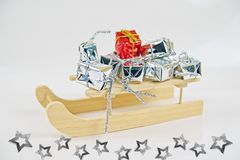 Gifts with santa sleigh Stock Image