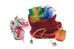 Gifts in santas sack Stock Photo