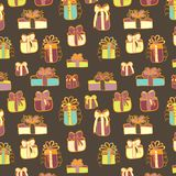 Gifts seamless pattern on brown Stock Image